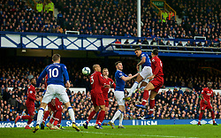 LIVERPOOL, ENGLAND - Sunday, March 3, 2019: Everton's Dominic Calvert-Lewin wins a header during the FA Premier League match between Everton FC and Liverpool FC, the 233rd Merseyside Derby, at Goodison Park. (Pic by Laura Malkin/Propaganda)