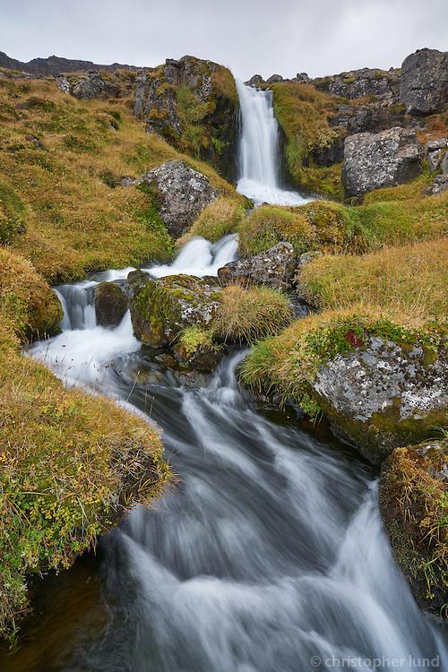 Stream falling down the hills of Arnarfjörður, West fiords of Iceland.