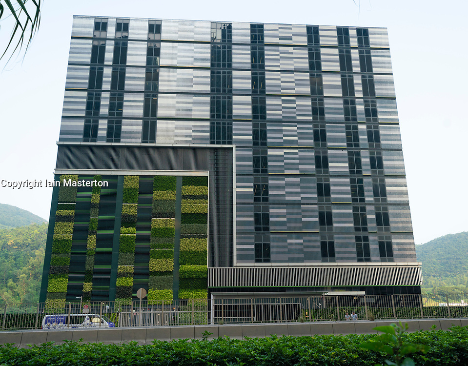 Exterior view of MEGA Plus - SUNeVision iAdvantage Data Center in Tseung Kwan O in New Territories of Hong Kong