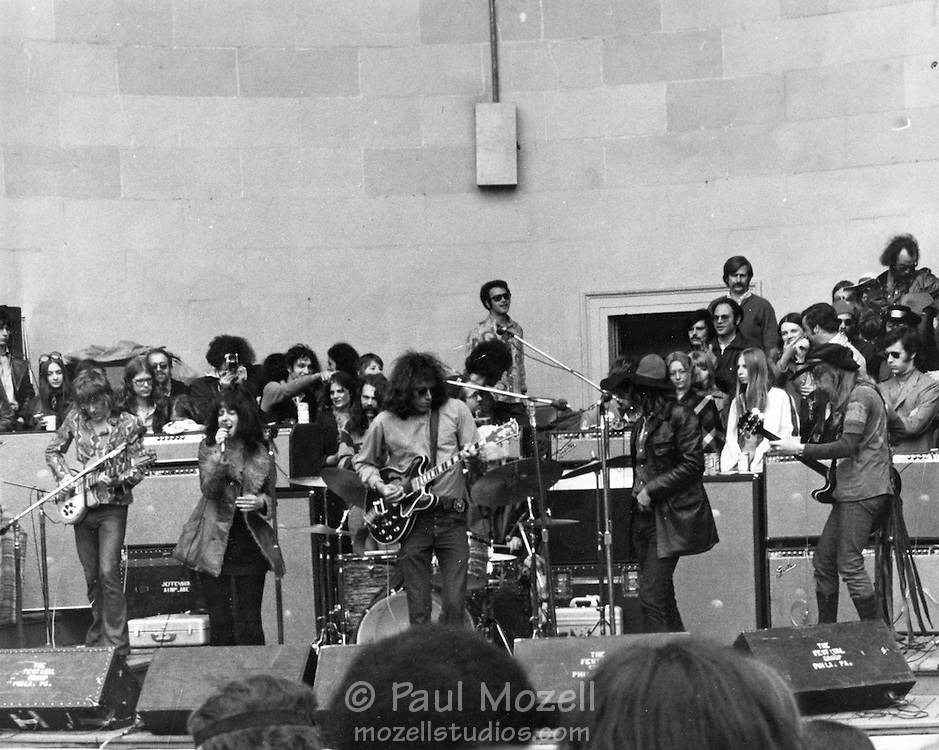 The Jefferson Airplane give a free concert at the bandshell in Central Park, August 10, 1969