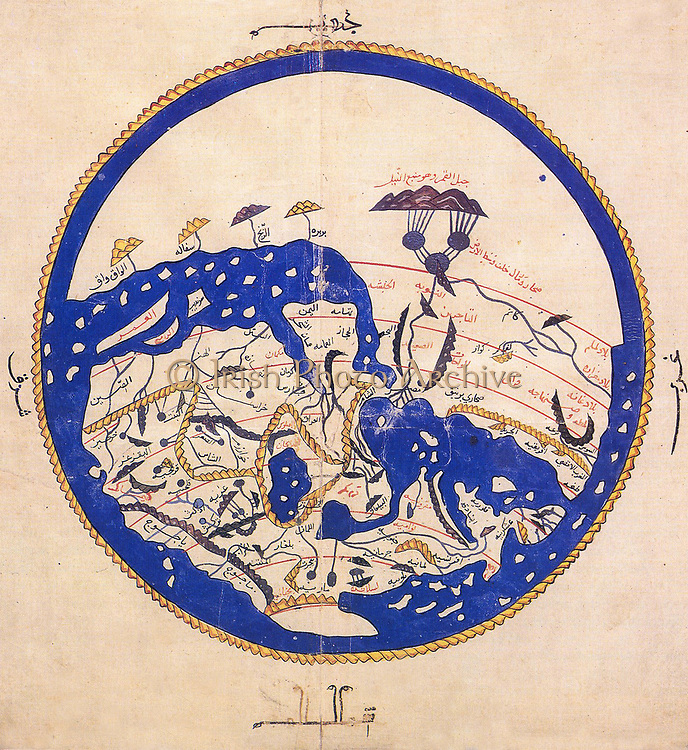 Introductory summary overview map from al-Idrisi's 1154 world atlas. Note that south is at the top of the map.