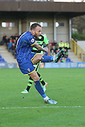 Sean Rigg of AFC Wimbledon keeps the pressure on Rovers goal during the The FA Cup match between AFC Wimbledon and Forest Green Rovers at the Cherry Red Records Stadium, Kingston, England on 7 November 2015. Photo by Stuart Butcher.