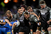 Codie Taylor of the BNZ Crusaders sets for a scrum during the Canterbury Crusaders v the Western Force Super Rugby Match. Nib Stadium, Perth, Western Australia, 8th April 2016. Copyright Image: Daniel Carson / www.photosport.nz