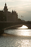France. Paris. Seine river bridges. Notre dame bridge on the seine river at sunset / pont Notre Dame