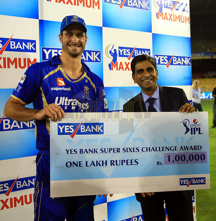 Ben Cutting of the Rajatshan Royals Recives Yes Bank Super Sixes Challange Award during the presentation of the  match 25 of the Pepsi Indian Premier League Season 2014 between the Rajasthan Royals and the Kolkata Knight Riders held at the Sardar Patel Stadium, Ahmedabad, India on the 5th May  2014<br /> <br /> Photo by Sandeep Shetty / IPL / SPORTZPICS      <br /> <br /> <br /> <br /> Image use subject to terms and conditions which can be found here:  http://sportzpics.photoshelter.com/gallery/Pepsi-IPL-Image-terms-and-conditions/G00004VW1IVJ.gB0/C0000TScjhBM6ikg