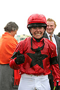INSTANT ATTRACTION (1) ridden by Charlotte Atkinson and trained by Jedd O'Keeffe wins The Ernest Cooper Macmillan Ride Of Their Lives Charity Race over 1m 1f and the jockey gives the thumbs upduring the MacMillan Charity Raceday held at York Racecourse, York, United Kingdom on 15 June 2019.