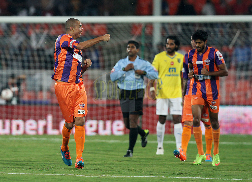 David Trezeguet of FC Pune City celebrates a goal during match 17 of the Hero Indian Super League between FC Pune City and Kerala Blasters FC held at the Shree Shiv Chhatrapati Sports Complex Stadium, Pune, India on the 30th October 2014.<br /> <br /> Photo by:  Vipin Pawar/ ISL/ SPORTZPICS