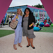 PITCH Stratford, London, England, UK. London night tsar, Amy Lame attend the private Pitch Open Airs Cinema. The unique new space is a design-led open-air cinema, drinking terrace and street food venue set to revolutionise the nightlife scene in Stratford on the 13th July 2017. The venue will accommodate 400 sun-worshippers beneath its 80's/90's inspired canopy, which features break-out areas including retro pyramid booths and an outdoor cinema screen.
