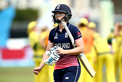 Heather Knight of England Women cuts a dejected figure after getting out to Kristen Beams of Australia Women - Mandatory by-line: Robbie Stephenson/JMP - 09/07/2017 - CRICKET - Bristol County Ground - Bristol, United Kingdom - England v Australia - ICC Women's World Cup match 19