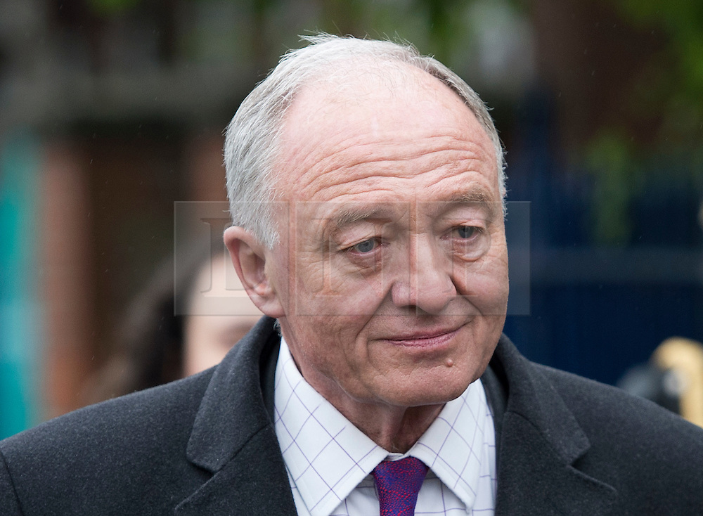 © London News Pictures. 03/05/2012. London, UK.  A gum looking Labour Mayoral candidate KEN LIVINGSTONE leaving his local polling station at Nora Primary School in Cricklewood, London where he voted in the 2012 London mayoral elections on May 3, 2012. Photo credit: Ben Cawthra/LNP