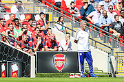 Jose Mourinho and Arsene Wenger during the FA Community Shield match between Chelsea and Arsenal at Wembley Stadium, London, England on 2 August 2015. Photo by Shane Healey.