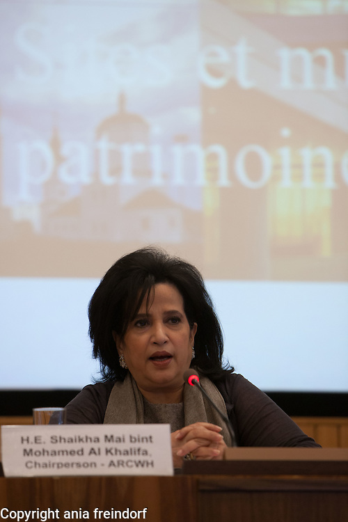 International Conference, World Heritage Sites, organized by UNESCO, ARCWH, ALESCO, ICCROM, ICOMOS, IUCN, ICOM, at UNESCO Headquarters, Paris, France, Shaikha Mai bint Mohamed Al Khalifa, Chairperson a of ARCWH, Bahrain.