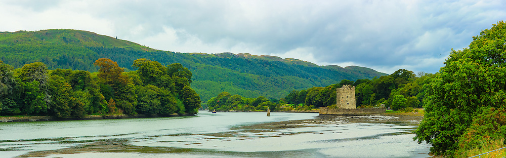 View down the Newry River towards Narrow Water Castle, Fathom Mountain and Fathom Forest