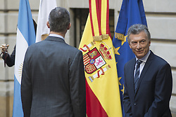 March 26, 2019 - Buenos Aires, Argentina - Spain's King Felipe (left)  and Argentina's President Mauricio Macri (right) talk as they wait for the arrival of businessmen for a meeting at the Palacio San Martin in Buenos Aires, Tuesday, March 26,2019.  King Felipe and his wife Queen Letizia are on their first official visit to Argentina. (Credit Image: © Mario De Fina/NurPhoto via ZUMA Press)
