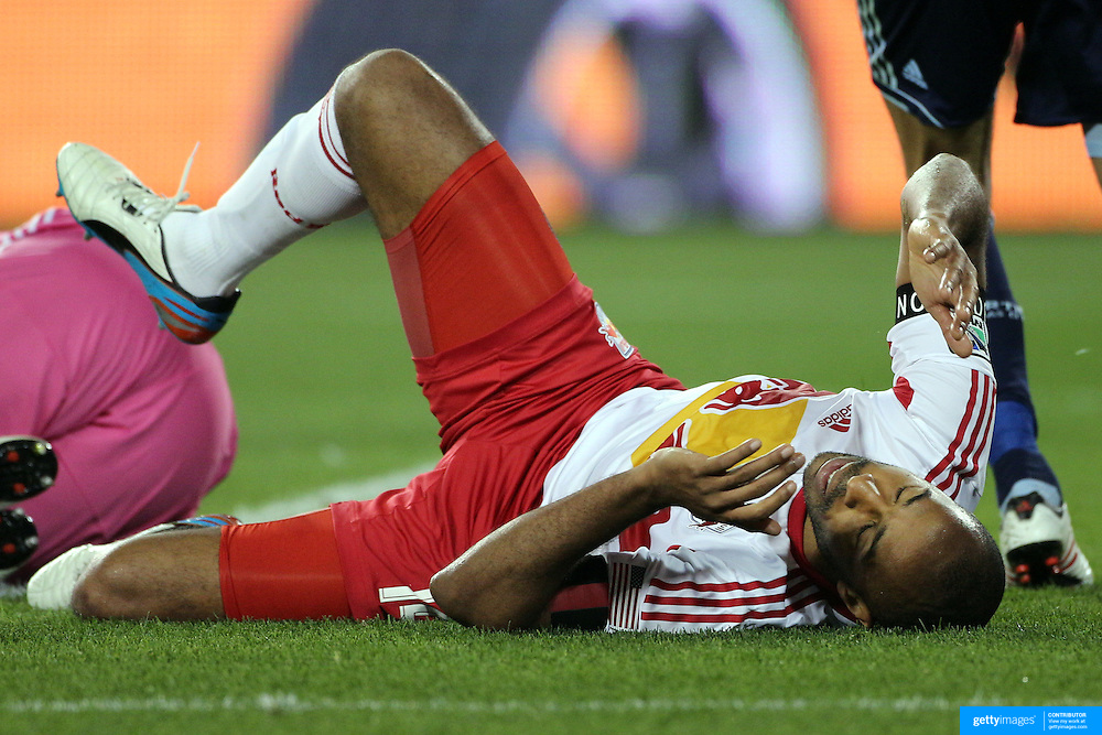 Thierry Henry, New York Red Bulls, after taking a tumble while challenging Sporting Kansas City goalkeeper Jimmy Nielsen during the New York Red Bulls V Sporting Kansas City, Major League Soccer regular season match at Red Bull Arena, Harrison, New Jersey. USA. 17th April 2013. Photo Tim Clayton