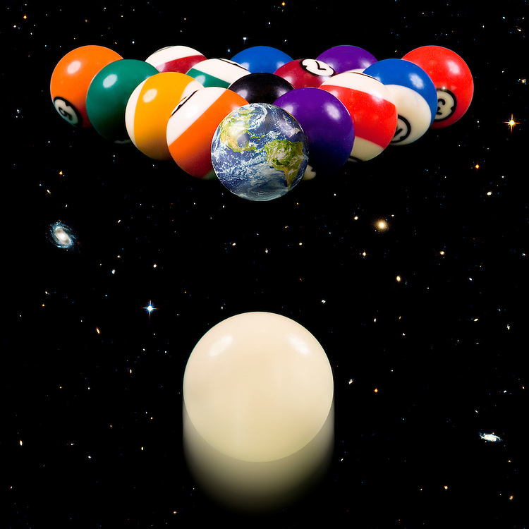 A cue ball speeds towards a set of celestially racked pool balls, where the Earth will be the first ball to be struck.