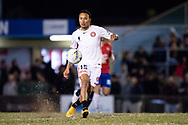 Western Sydney Wanderers midfielder Kearyn Baccus (15) kicks the ball at the FFA Cup Round 16 soccer match between Bonnyrigg White Eagles FC v Western Sydney Wanderers FC at Marconi Stadium in Sydney.