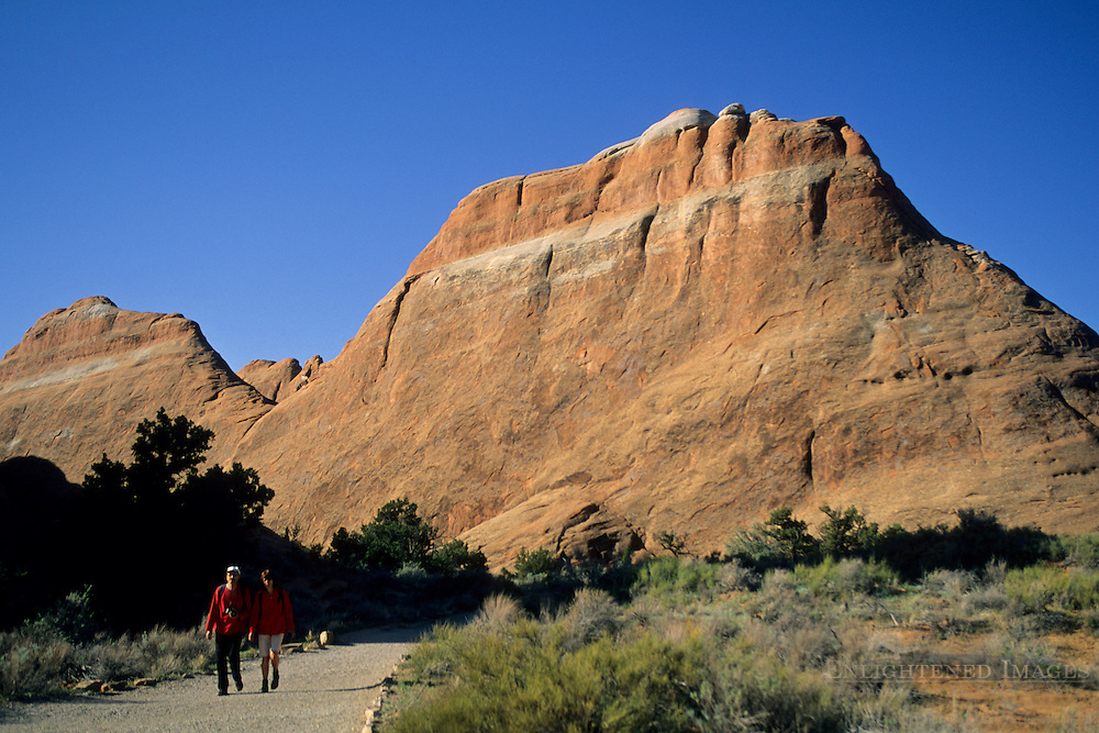 Hikers on the Devils Garden Trail Arches National Park, UTAH