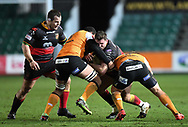 Dragons' Elliot Dee Dragons' Sam Hobbs in action tonight<br /> <br /> Photographer Mike Jones/Replay Images<br /> <br /> Guinness PRO14 Round Round 18 - Dragons v Cheetahs - Friday 23rd March 2018 - Rodney Parade - Newport<br /> <br /> World Copyright © Replay Images . All rights reserved. info@replayimages.co.uk - http://replayimages.co.uk