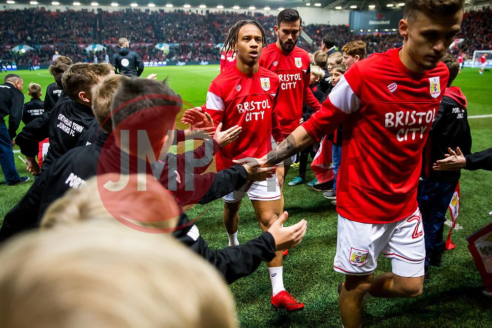 Bobby Reid of Bristol City comes in from the warmup - Rogan/JMP - 20/12/2017 - Ashton Gate Stadium - Bristol, England - Bristol City v Manchester United - Carabao Cup Quarter Final.