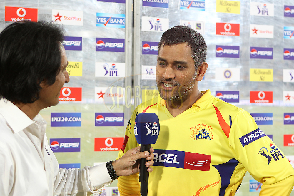 MS Dhoni interviewed after the match during match 54 of the Pepsi Indian Premier League between The Sunrisers Hyderabad and Chennai Superkings held at the Rajiv Gandhi International  Stadium, Hyderabad  on the 8th May 2013..Photo by Ron Gaunt-IPL-SPORTZPICS ..Use of this image is subject to the terms and conditions as outlined by the BCCI. These terms can be found by following this link:..http://www.sportzpics.co.za/image/I0000SoRagM2cIEc