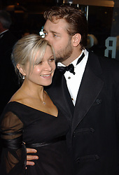 Actor Russell Crowe with his wife Danielle Spencer arrives for the Royal Film Performance 2003 - a charity screening of new film Master & Commander : Far Side Of The World at Odeon Leicester Square in central London.