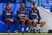 Reading assistant first team coach Nuno Miguel Gomes Bentes Lampreia, Reading first team coach Quinton Fortune, Reading first team coach John O'Shea during the EFL Cup match between Reading and Luton Town at the Madejski Stadium, Reading, England on 15 September 2020.