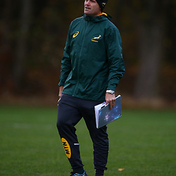 EDINBURGH, IRELAND - NOVEMBER 12: Jacques Nienaber (Defence Coach) of South Africa during the South African national rugby team training session at Peffermill Sports Fields on November 12, 2018 in Edinburgh, Ireland. (Photo by Steve Haag/Gallo Images)