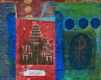 Mixed media asian art.<br />