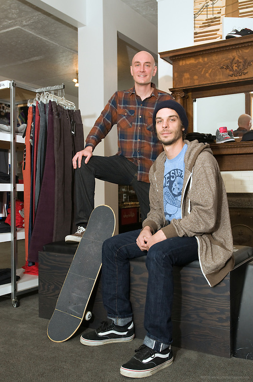 Derek Metten and Thom Hornung, owners of Home Skateshop, photographed Tuesday, Oct. 13, 2009 in Louisville, Ky. (Photo by Brian Bohannon)