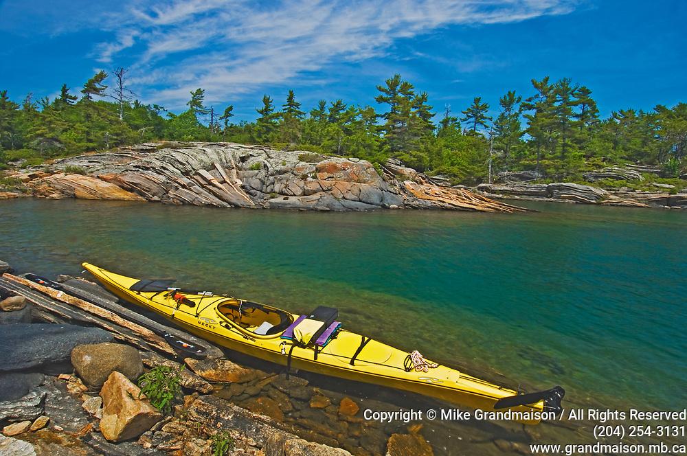 kayak on Georgian Bay north of Windsor Island<br />near<br />Ontario<br />Canada