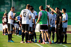Ante Šimundža, head coach of Mura with his players during football match between NK Triglav and NS Mura in 5th Round of Prva liga Telekom Slovenije 2019/20, on August 10, 2019 in Sports park, Kranj, Slovenia. Photo by Vid Ponikvar / Sportida