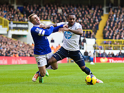 LONDON, ENGLAND - Sunday, February 9, 2014: Everton's Gerard Deulofeu in action against Tottenham Hotspur's Danny Rose during the Premiership match at White Hart Lane. (Pic by David Rawcliffe/Propaganda)