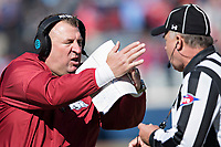 OXFORD, MS - OCTOBER 28:  Head Coach Bret Bielema of the Arkansas Razorbacks calls a time out during a game against the Ole Miss Rebels at Hemingway Stadium on October 28, 2017 in Oxford, Mississippi.  The Razorbacks defeated the Rebels 38-37.  (Photo by Wesley Hitt/Getty Images) *** Local Caption *** Bret Bielema