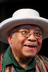 29 April 2012. New Orleans, Louisiana,  USA. <br /> New Orleans Jazz and Heritage Festival. <br /> Legendary jazz musician Ellis Marsalis. <br /> Photo credit; Charlie Varley/varleypix.com