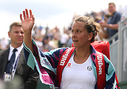 Barbora Strycova after her win in the round of 16 match against Elise Mertens on court 12 on day seven of the Wimbledon Championships at the All England Lawn Tennis and Croquet Club, London.