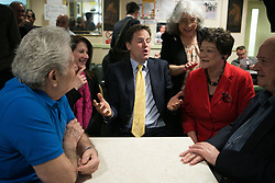 Deputy Prime Minister Nick Clegg and leader of the Liberal Democrats Party visit the Cypriot Community Centre and talk with Cypriot attendants in Earlham Grove as part of the launch for Lib Dem's election launch, Cypriot Community Centre in Earlham Grove, London, United Kingdom. Tuesday, 6th May 2014. Picture by Daniel Leal-Olivas / i-Images