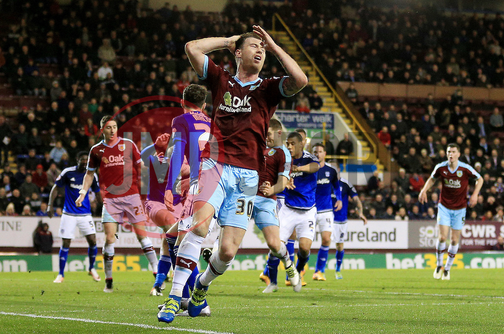 Burnley's Ashley Barnes reacts after his shot is saved - Mandatory by-line: Matt McNulty/JMP - 05/04/2016 - FOOTBALL - Turf Moor - Burnley, England - Burnley v Cardiff City - SkyBet Championship