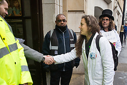 London, UK. 22 November, 2019. Dr Emily Grossman delivers a letter to the Department for Education on behalf of Scientists for XR during a demonstration intended to communicate the science relating to the climate and ecological emergency. Activists were dressed in labcoats to represent the 1600 scientists worldwide who have signed the Scientists Declaration in support of non-violent direct action against government inaction against the climate and ecological emergency.