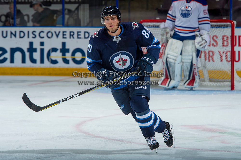 PENTICTON, CANADA - SEPTEMBER 9: Michael Spacek #80 of Winnipeg Jets skates against the Edmonton Oilers on September 9, 2017 at the South Okanagan Event Centre in Penticton, British Columbia, Canada.  (Photo by Marissa Baecker/Shoot the Breeze)  *** Local Caption ***