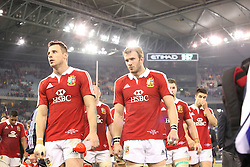 © Licensed to London News Pictures. 29/6/2013. Tommy Bowe and Tom Croft walk off after their loss  during the British & Irish Lions 2nd test between Qantas Wallabies Vs British & Irish Lions at Etihad Stadium, Melbourne, Australia. Photo credit : Asanka Brendon Ratnayake/LNP