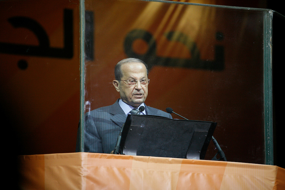 Former Lebanese General Michel Aoun's Free Patriotic Movement held a rally in Beirut just eight days before parliamentary elections. The 7 June elections are expected to be highly contested, with the governing pro-American March 14 coalition facing pressure from the Hizballah-led March 8 opposition, which Aoun's Free Patriotic Movement is a member of. The rally focused on Lebanon's Metn district just north of Beirut. Metn is expected to be one of the closest races between the Christian parties of both coalitions, as well as independent candidates. ///Free Patriotic Movement leader Michel Aoun speaks to supporters in Beirut.