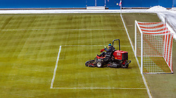 11.01.2017, Red Bull Arena, Salzburg, AUT, 1. FBL, FC Red Bull Salzburg, Trainingsauftakt, im Bild ein Mitarbeiter des Stadions maeht mit einem Rasenmaeher das Fussballfeld // Employee mow the grass on the pitch before the first Trainingsession of Austrian Bundesliga Club FC Red Bull Salzburg at the Red Bull Arena, Salzburg, Austria on 2017/01/11. EXPA Pictures © 2017, PhotoCredit: EXPA/ JFK