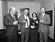 Canal Festival At Newry.  (R77)..1988..04.05.1988..05.04.1988..4th May 1988..Today saw the announcement of the details of the Guinness Canal Festival at Newry. The festival will incorporate the Ulster Final of the Rose of Tralee Contest. The festival, in its fourteenth year, promotes a warm friendly athmosphere with the emphasis on family entertainment. The Festival details were launched at the Guinness Reception Centre,Guinness Brewery, St James's Gate,Dublin...Image shows members of the Newry Festival organising committee in Guinness Brewery at the launch of the Festival.