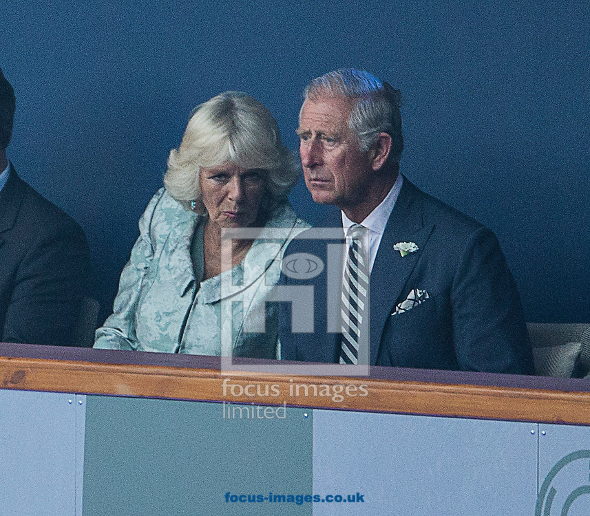 Camilla, Duchess of Cornwall and  Prince Charles, Prince of Wales are seen during the Glasgow 2014 Commonwealth Games Opening Ceremony at Celtic Park, Glasgow<br /> Picture by Paul Terry/Focus Images Ltd +44 7545 642257<br /> 23/07/2014