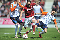 Northampton Town v Luton Town, Sky Bet League 2,  Six Fields Stadium Northampton Crowned Division Two Champions Saturday 30th April 2016. (Score 2-1)Photo: Mike CappsNORTHSMPTONS RICKY HOLMES GETS PAST LUTONS DEFENCE, Northampton Town v Luton Town, Sky Bet League 2,  Six Fields Stadium Saturday 30th April 2016