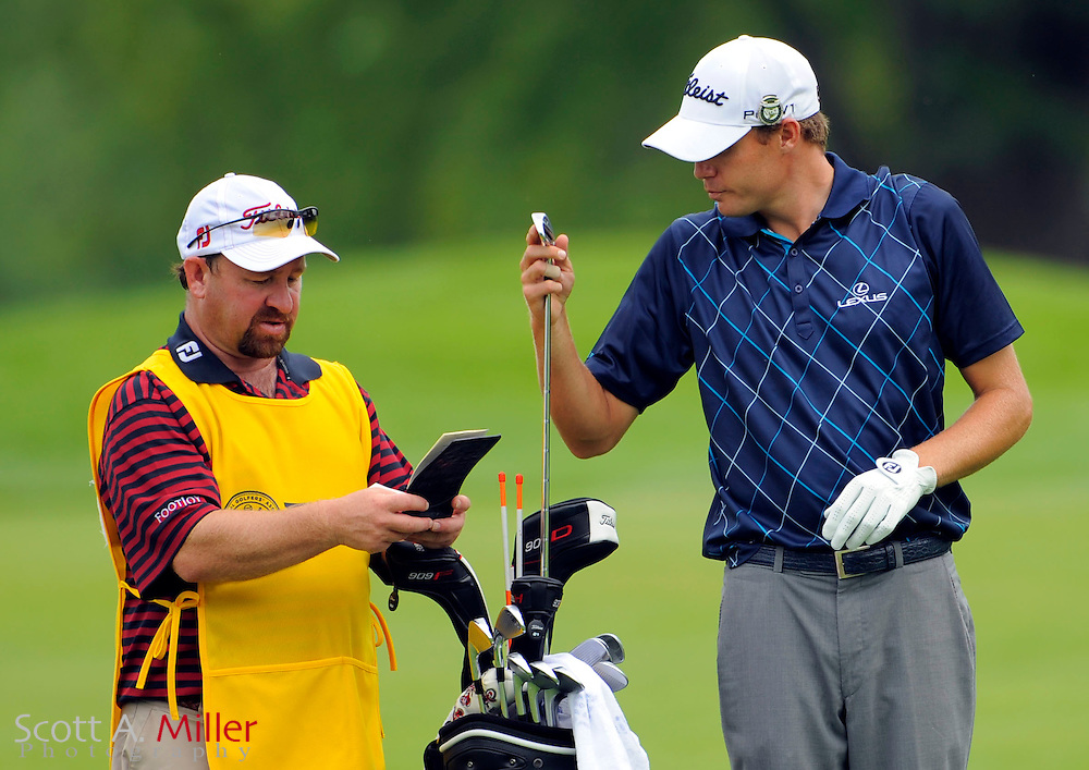 Aug 13, 2009; Chaska, MN, USA; Nick Watney (USA), right, with his caddie on the third fairway during the first round of the 2009 PGA Championship at Hazeltine National Golf Club.  ©2009 Scott A. Miller