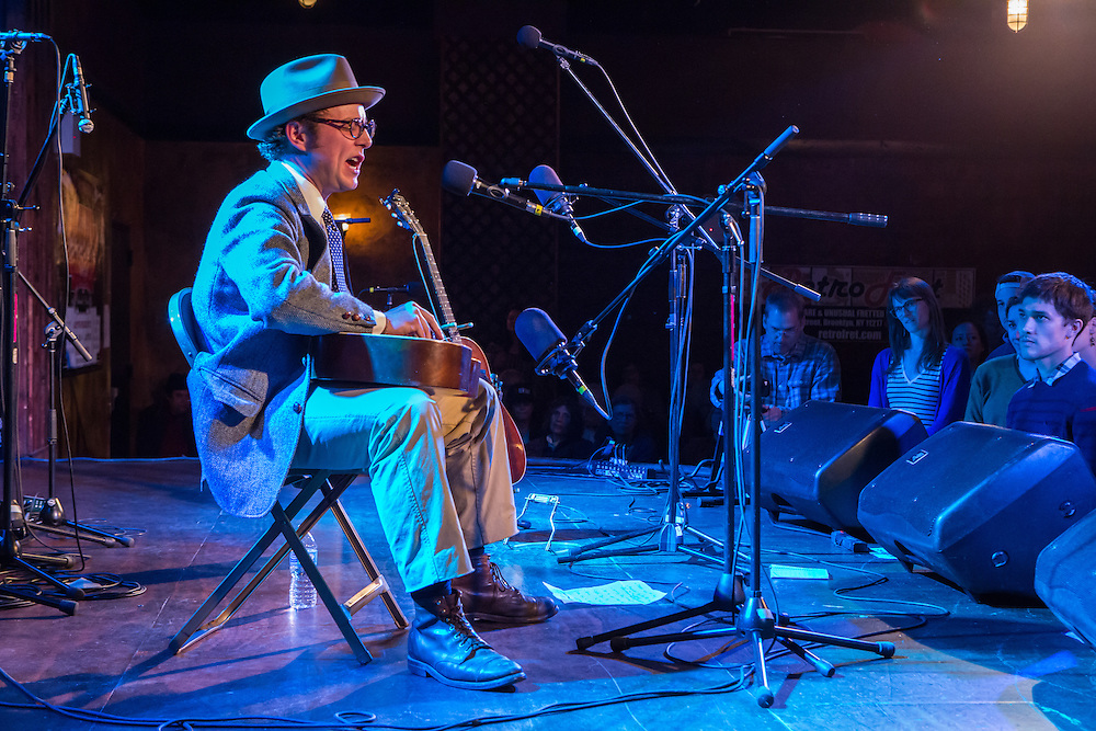 Hunter Holmes, from Lauren, South Carolina, plays traditional music from his home state at the Brooklyn Folk Festival.