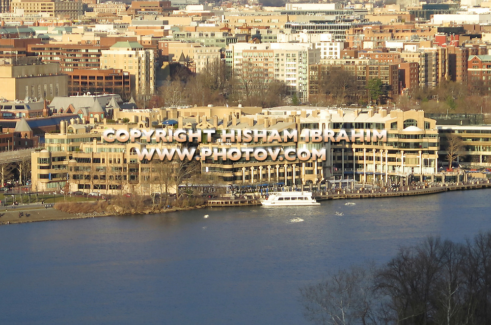 Aerial View of Georgetown Harbor, Waterfront, and Residential District at Sunset, Washington DC, USA.