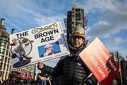London, UK. 29 January, 2020. Steve Bray stands with pro-EU activists from SODEM (Stand of Defiance European Movement) protesting in Parliament Square on the day on which MEPs were to formally approve the Brexit Withdrawal Agreement.